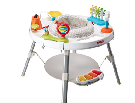 If you're reading this, you're looking for something safe and entertaining for your child that also makes your life easier and if it all possible it isn't a complete eyesore. Finally a better alternative to the loud, large and overall eyesore the traditional exerciser - plus it turns into a table!